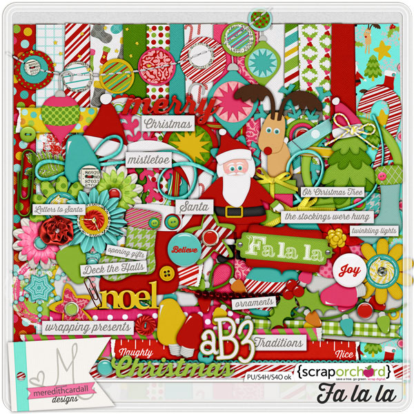 Digital scrapbook kit - Fa La La | Meredith Cardall