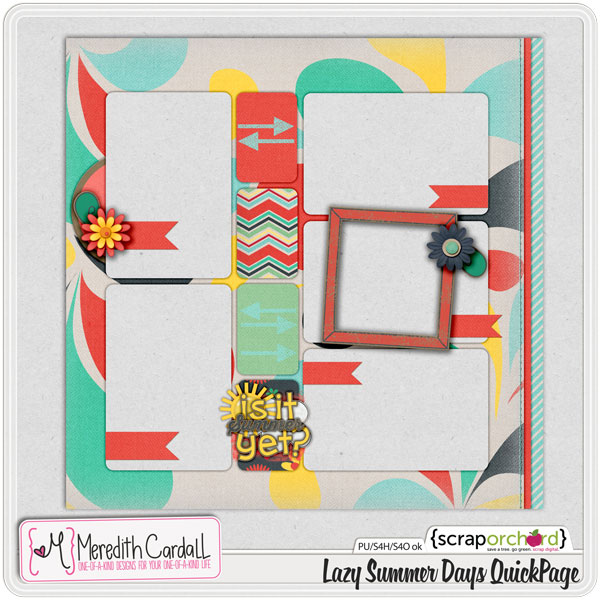 Lazy Summer Days digital scrapbook kit QuickPage