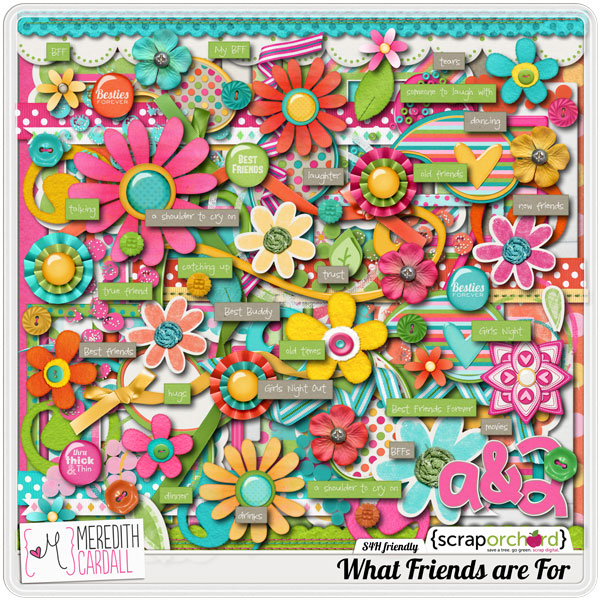 Digital Scrapbook - What Friends For | Meredith Cardall
