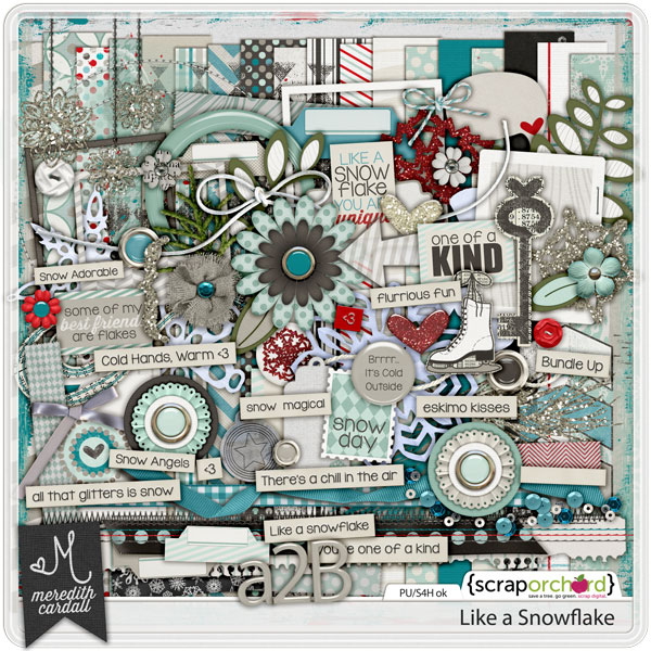 Like a Snowflake - Digital Scrapbook kit | Meredith Cardall