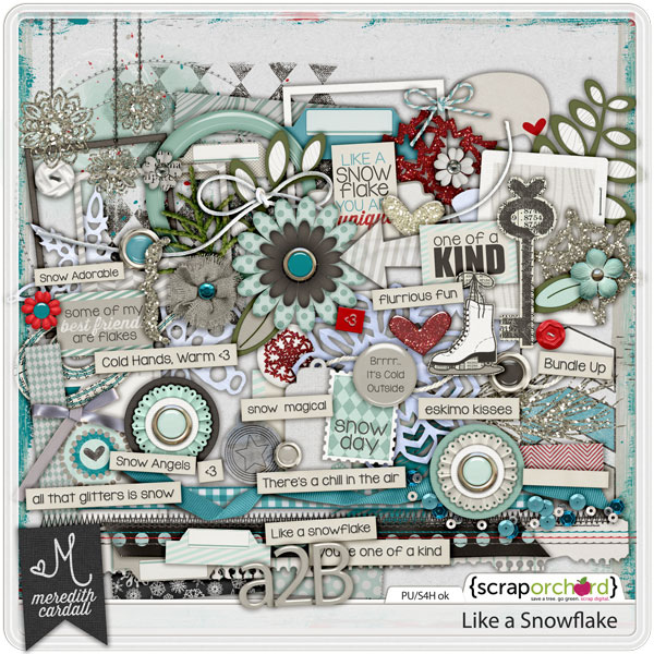 Digital Scrapbook elements - Like A Snowflake | Meredith Cardall