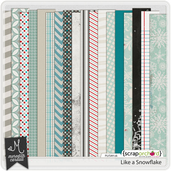 Digital Scrapbook Papers - Like a Snowflake | Meredith Cardall