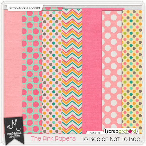 Digital Scrapbook Papers - To Bee or Not To Bee Pink | Meredith Cardall