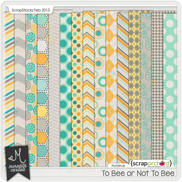 Digital Scrapbook Papers - To Bee or Not To Bee | Meredith Cardall