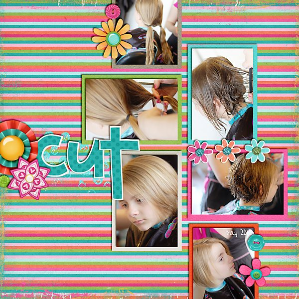 Digital scrapbook - Ashlyn hair cut | Meredith Cardall